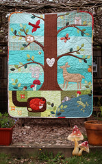 Forest Friends Quilt (PatchworkPottery) Tags: quilt forest creatures tree patchwork applique freemotion patchworkpottery handmade quilted embroidery baby
