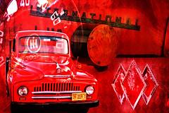 Harvesting Red Diamonds (Goromo) Tags: internationalharvester truck diamonds diamondshape 1950 1950truck red texture ih