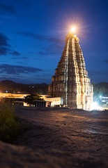 Hampi Sri Virupaksha Temple (Amit Nadgeri) Tags: bluesky temple gopuram lighting night rock vijayanagara empire hampi karnataka india unisco site world heritage historical place monument