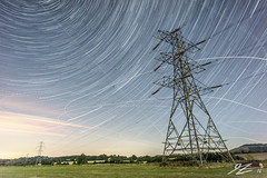 Let's Make a Rendezvous # 2 (Tim van Zundert) Tags: fulking mid east sussex south england electricity pylons landscape power stars field night evening long exposure sony a7r voigtlander 21mm ultron downs star trails stack brighton
