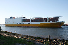 GRANDE SENEGAL - GRIMALDI LINES -  in Staten Island, New York, USA. August, 2016 (Tom Turner - SeaTeamImages / AirTeamImages) Tags: roro rollon rolloff container cargo containers vessel yellow shore shoreline waterfront spot spotting kvk killvankull channel water waterway tomturner statenisland newyork nyc bigapple unitedstates usa grandesenegal grimaldi grimaldilines marine maritime pony port harbor harbour transport transportation