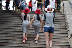 In step (Roving I) Tags: travel tourism stairs twins longhair vietnam holdinghands redhats attractions danang handinhand instep banahills