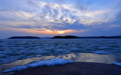 Lake Superior at Marathon 2015 (Gord McKenna) Tags: ca blue sunset sky sun lake ontario canada mill ice beach rock clouds swimming gold nikon mine marathon smooth style superior canadian sheet shield geology curve gord polished cummings bedrock mckenna precambrian sunsest barrick hemlo gordmckenna