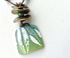 Green Leaf Pendant (WiredOrchid) Tags: blue green design leaf pattern teal polymerclay technique inks batik
