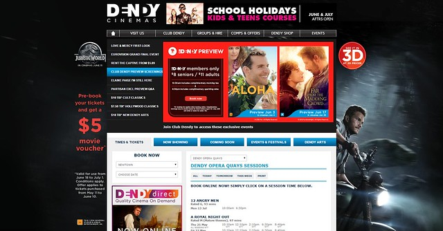 Jurassic World Pre-Book $5 offer Webskin and Aloha and Madding Crowd MI on Dendy Cinemas Website