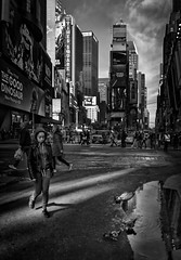 City Life (Inge Vautrin Photography) Tags: life street city nyc newyorkcity light people urban signs ny water birds architecture buildings walking puddle outside outdoors person cityscape manhattan streetphotography timessquare tall innercity