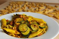 Homemade Garganelli zucchini, pancetta & saffron (Yurika's Pastries and Pasta) Tags: pasta fresh homemade zucchini pancetta saffron zucchine zafferano freshpasta pastafresca garganelli