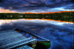 Lake In The Evening (sbox) Tags: blue sunset sky lake painterly water evening dock canoe textures hdr magicunicornverybest