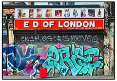2RISE GRAFFITI & LUGGAGE PUSHER (StockCarPete) Tags: streetart graffiti tourist luggage shutters graff londonstreetart shutterart irestmycase edoflondon 2rise