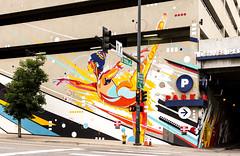Denver Performing Arts Garage (photographyguy) Tags: denver colorado performingarts denverperformingarts art garage 13thstreet downtowndenver park parking tree street streetlight trafficlight urban