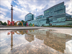 Russia. Moscow. Trubnaya square. (Yuri Degtyarev) Tags: russia moscow trubnaya square monument reflections water cloudy tsvetnoy boulevard city capital panasonic dmcg3 g3 cokin graduated neutral density 7144 hf007014