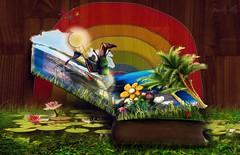 A Fairytale (Usagigunn79) Tags: digitalillustration graphicdesign illustration icolorama magic mixedmedia 3d dragon photomanipulated illustrator photoshop usagigunndesigninx fantasy surreal rainbow sarahsart