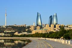 Bulvari (ola_alexeeva) Tags: baku baki  azerbaijan  exploring aztagram bak bulvar    seaside boulevard  sunrise oriental architecture  flame towers