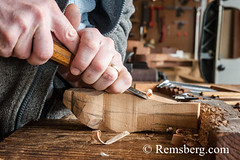 Hands using a tool to carve wood in a studio in Pennsylvania. (Remsberg Photos) Tags: art artist carver studio wood hands oneperson indoors pennsylvania craft skill tools working stahlstown usa