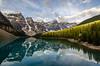 Moraine Lake Sunrise (TheReilDeal) Tags: banff banffnationalpark morainelake valleyofthetenpeaks mountains lake glacier alberta turqoise reflection sunrise