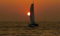 Sailing into the Sun(set) (somabiswas) Tags: sailing santorini greece aegean sea