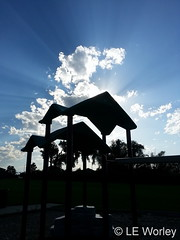 July 7, 2016 - A playset silhouetted by the sun. (LE Worley)