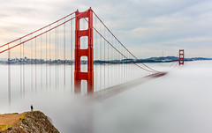 Veiled in the sea of fog (ScorpioOnSUP) Tags: ocean sanfrancisco california longexposure bridge seascape architecture clouds sunrise landscape outdoors cityscape tranquility overcast bluesky structure goldengatebridge sausalito hdr batteryspencer fortbaker fogs landscapephotography humanfigure marinelayers