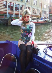 Another Boat trip photo (Miss Nina Jay) Tags: stockings body tights gloves trannie