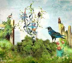 What Grows in your Garden? (rubyblossom.) Tags: mii challenge 1 pavillion fairy garden animals bear wolf giraffe crow fox wildlife fence flowers gate rubyblossom rubystreasures 2016