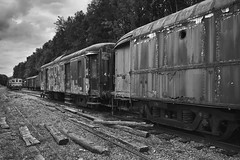 Lost trains (Strange Artifact) Tags: sony a7r black white schwarz weiss zwart wit bw trains gare lost abandoned decay fe 28mm f2