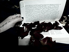 What is termed Sin is an essential element of progress. (Jessica S. Molina) Tags: blackandwhite book reader hand roses petal red oscar wilde me tattoo bw flowers lady