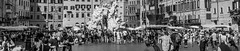 Piazza Navona, Rome (Alan-S2011) Tags: piazzanavona rome italy fountain fiumi fontana del nettuno fontanadelnettuno blackandwhite bw crowds streetscene
