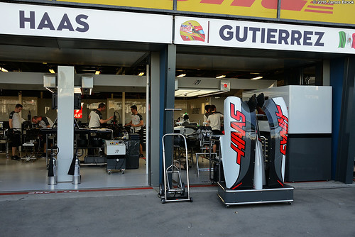 Haas garage and pits