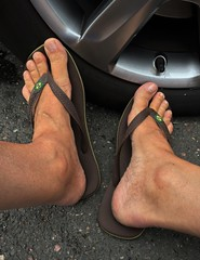 At the Car Wash 3. (silvpix) Tags: barefoot havaianas flipflops tanned feet