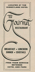 The Gourmet Restaurant at the Disneyland Hotel, 1960 ad (Tom Simpson) Tags: vacationland vintage 1960 1960s disney vintagedisney disneyland ad ads advertising vintagead vintageads gourmetrestaurant disneylandhotel