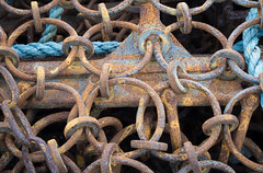 Blue yellow (S's images) Tags: rusted lobster pot links blue yellow abstract brixham harbour