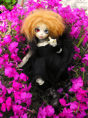 Little flower girl Luna (Mientsje) Tags: summer white flower lune ball outside doll skin mohair bjd fairyland jointed yellowed yosd littlefee