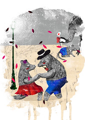 """ciudad fauna"" (cosasdejose) Tags: bear art love shop azul illustration digital watercolor rojo amor ill editorial acuarela osos pepereyes mixted"