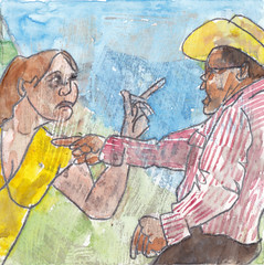 # 191 (09-07-2016) (h e r m a n) Tags: herman illustratie tekening bock oosterhout zwembad 10x10cm 3651tekenevent tegeltje drawing illustration karton carton cardboard manandwoman manenvrouw quarrel arguing fiercely debate fight ruzie gevecht discussie fel