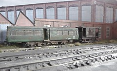 Condemned Park Royal Railbus. (ManOfYorkshire) Tags: britishrailways railway trains lindseywest sifings scrapped condemned parkroyal railbus dmu airfix kit hornby guards van northeastern oogauge scale model 176 diorama marked weathered detailed painted assembled plastic