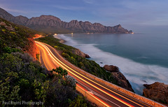 Kogelbaai Light-Trails (Panorama Paul) Tags: southafrica lighttrails bluehour gordonsbay westerncape rooiels r44 nikkorlenses nikfilters nikond800 wwwpaulbruinscoza paulbruinsphotography clarensdrive