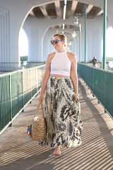 Golden Hour in Vero Beach Florida | Beach Vacation Outfit | White Crop Top Printed Maxi Skirt M.Gemi Sandals | Fashion Living After Midnite Style Blogger Jackie Giardina (jackiegiardina) Tags: summer vacation white sunglasses fashion outfit florida sandals straw style boho maxi neutral livingaftermidnight karenwalker neturals livingaftermidnite jackiegiardina
