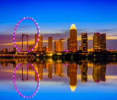 Skyline and view of skyscrapers at twilight time in Singapore. (Nuttawut Uttamaharad) Tags: architecture asia bay bridge building business center city cityscape commercial downtown dusk east evening exterior famous finance financial hotel landscape light marina modern night panorama reflection river silhouette singapore sky skyline skyscrapers sunset tower travel tree urban view wheel