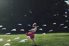 Skyward Eyes (Furcifer07) Tags: sky skyward green burgundy maroon paper planes plane airplane airplanes flight fly flying wind gust blonde bob portrait portraiture july hot heat model lorenschmidt love levitate concept conceptual
