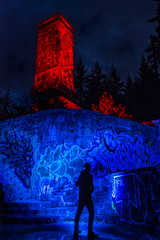 Hestation at the Tower! (~138~) Tags: vancouverisland victoria abstract art awe ball bc blue canada colours cool curves dark evening fun light lightart lightjunkies lightpaint lightpainting longexposure lpwaliance man night nightlights nightscape old orb outdoors outside paintingwithlight psychedelic red shadow shadowpeople shilouette singleexposure sooke sookepotholes sphere standing strange trippy urbanexploration urbex
