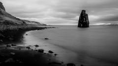 eternal guard of the petrified troll (lunaryuna) Tags: longexposure seascape season landscape coast iceland spring le fjord monolith lunaryuna panoramicimage coastallandscape hvitserkur northiceland seasonalchange vatnsnespeninsula