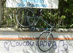 Coucou Laura (mikecogh) Tags: dublin love bicycle sign hearts graffiti hanging greeting discparking