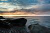 Sunrise from Pebble Beach (The Burgys) Tags: landscape acadia nationalpark acadianationalpark maine coast coastal beach mountdesertisland mdi sunrise clouds ocean color rocks granite sony a99 sonya99 zeiss zeiss1635 summer polarizer wideangle