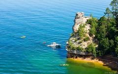 """""""Miners' Castle"""" (D A Baker) Tags: lake tree castle rock boat rocks kayak pictured superior national lakeshore miners"""