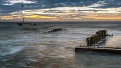 Seascape (Lazaros E) Tags: uk longexposure sunset sea summer england seascape beach clouds dark seaside waves outdoor dusk tide kingslynn lazarose