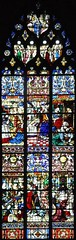 """Stained-glass window of  """"Pangyrique de Saint Romain"""", South Transept, Cathedral of Rouen, Haute-Normandie, France, 1521 (mike catalonian) Tags: xvicentury 1521 medieval gothic rouen cathedral stainedglass"""
