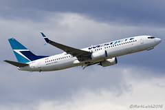 WestJet Airlines, Boeing 737-8CT, C-FKRF. (M. Leith Photography) Tags: westjet airlines airliner boieng boeing 737 next gen cfm 56 plane aviation canada vancouver international airport sunny stormy weather photography markleithphotography nikon d7000 70200vrii nikkor