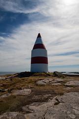 The Daymark, St Martins, Isles of Scilly (splib1) Tags: stmartins islesofscilly daymark conical granite ordnancesurvey landmark triangulation 17thcentury blue grey green cloud red white stripes