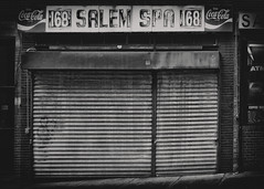 Salem Spa, North End, Boston (Sally E J Hunter) Tags: boston salemspa northend cocacola monochrome blackwhite blackandwhite sign vintage typography salem street massachusetts