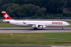 Swiss   Airbus A340-300   HB-JMB   Singapore Changi (Dennis HKG) Tags: swiss swissair lx swr airbus a340 a340300 airbusa340 airbusa340300 aircraft airplane airport plane planespotting singapore changi wsss sin hbjmb staralliance canon 7d 100400